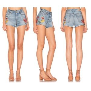 GRLFRND Cindy High Rise Embroidered Shorts 23 NWOT